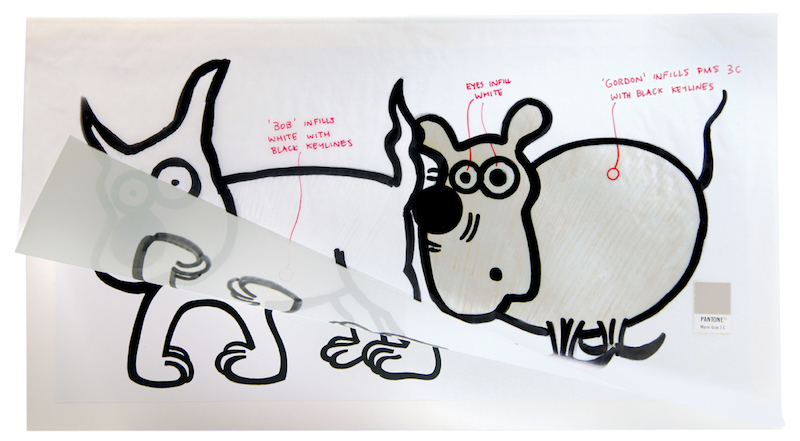 Dog's best friend: original marked-up artwork featuring Bob and his PMS 3C mate Gordon. Image courtesy of Form ©2017.