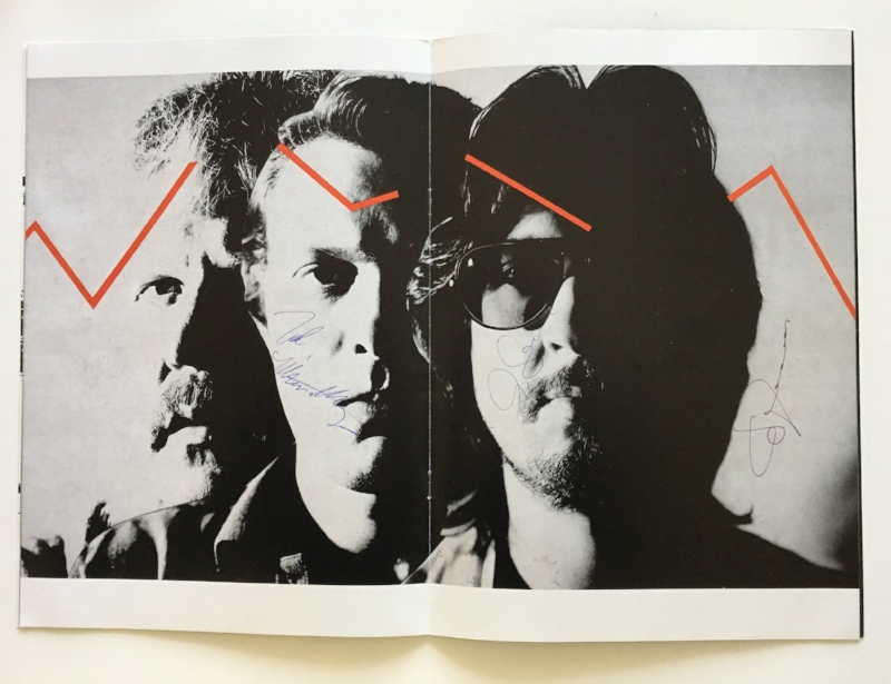 Brain wave: From the UK tour of 1981, the programme's centre spread featured what might be described as the band's recurring graphic motif, namely an electronic signal passing through the band's foreheads. From left to right: Edgar Froese (founder), Johannes Schmoelling (the new guy), Christoph Franke. (Signed programme author's own).