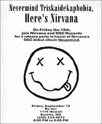 Face time: Attributed to Cobain, the Nirvana stoner smiley face appeared on a lo-fi launch party invite.