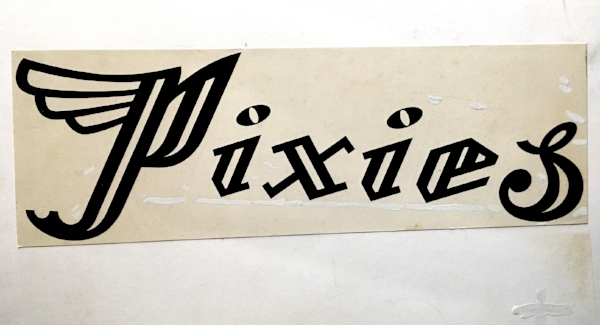 Warts and all (above and below): Chris Bigg's original old-school bromide artwork for the bewinged Pixies' logotype.