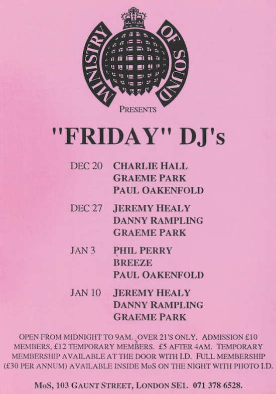 "Flying high: a rudimentary flier for ""Friday"" DJ's at Ministry of Sound is rescued by the presence of the logo. Dig that centred type."