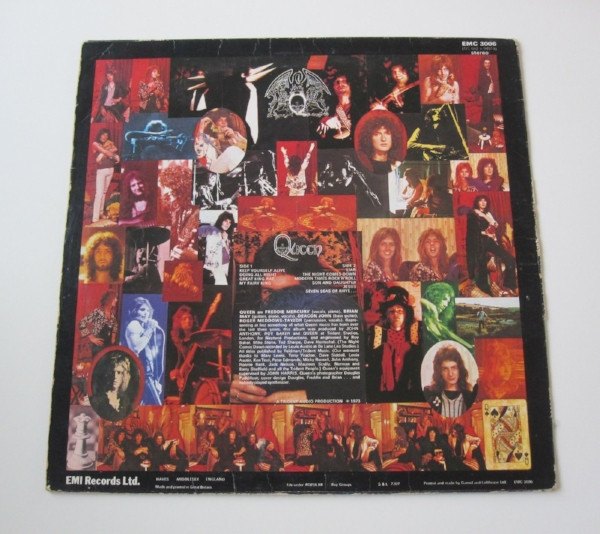 Round the back: the first low-key sighting of the Queen logo was on the back cover of their self-titled debut LP. The record featured typically thunderous production by Roy Thomas Baker, who would work with the band throughout their career.