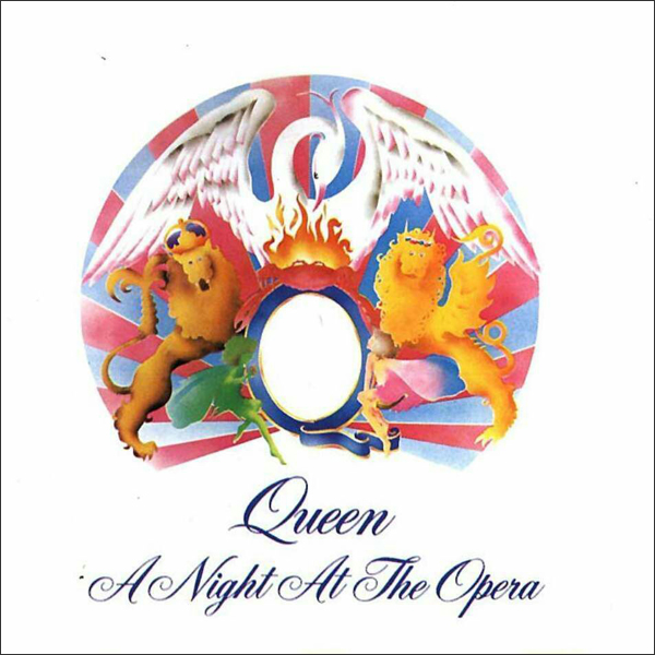 Top Marx: 'A Night at the Opera' (1975) and 'A Day at the Races' (1976) were both named after Marx Brothers'films and used imagery based on Mercury's original crest drawing on their front covers.