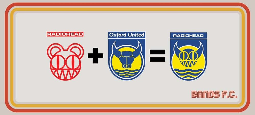 Head boy: Here's how it works ... Radiohead's logo merges with the crest of Oxford United, their home-town team.