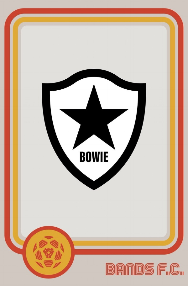 Star player: David Bowie's football badge takes inspiration from his final album, the Jonathan Barnbrook-designed 'Blackstar'.