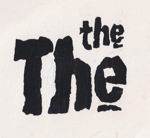 Rough and ready: the original The The logo artwork by Fiona Skinner, complete with Tippex blobs.