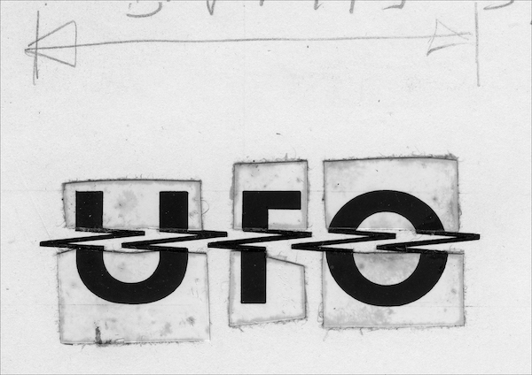 """Cutting up rough: fresh from the attic and revealed for the first time here, Halpin's hand-pasted artwork for the UFO logo. """"It just ran and ran and ran."""" Can't argue with that."""