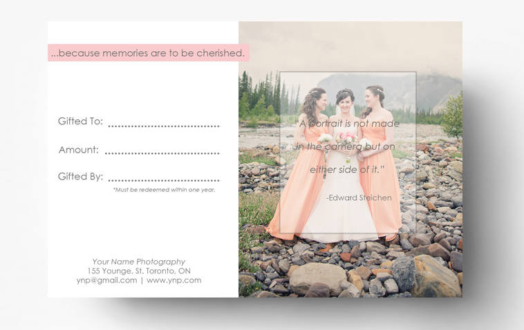 Gift Card Template Gift Certificate Photography Template
