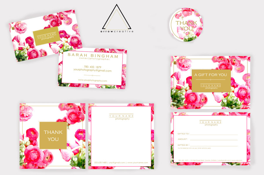Floral Gold Marketing Kit Photography Packaging Business Cards