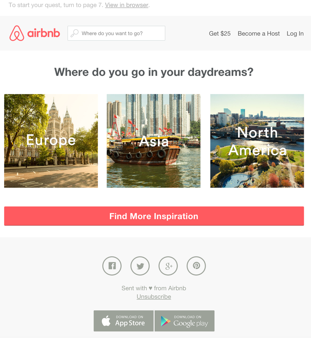 Airbnb images via Really Good Emails