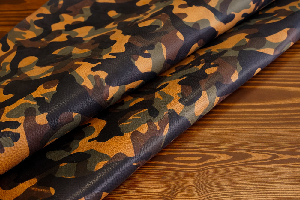 Camo Vachetta - This Italian veg-tan leather adds a fun flair to any item with its eye-catching camo pattern which ages nicely on the pebbled surface.