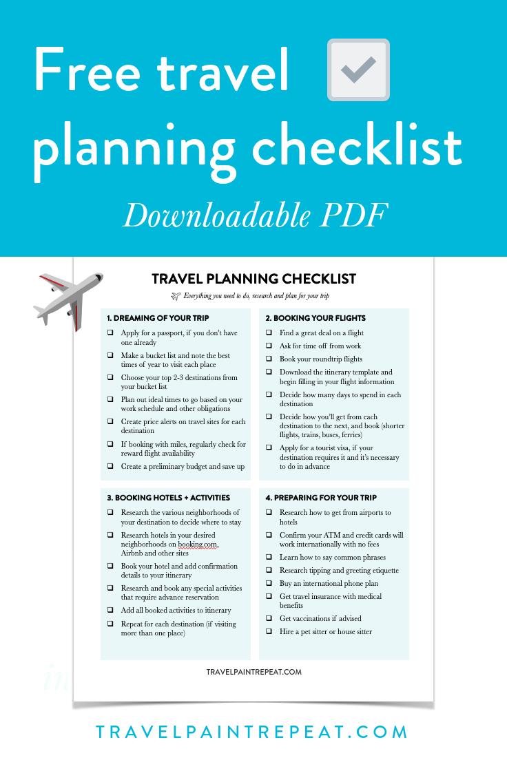 Free travel planning checklist