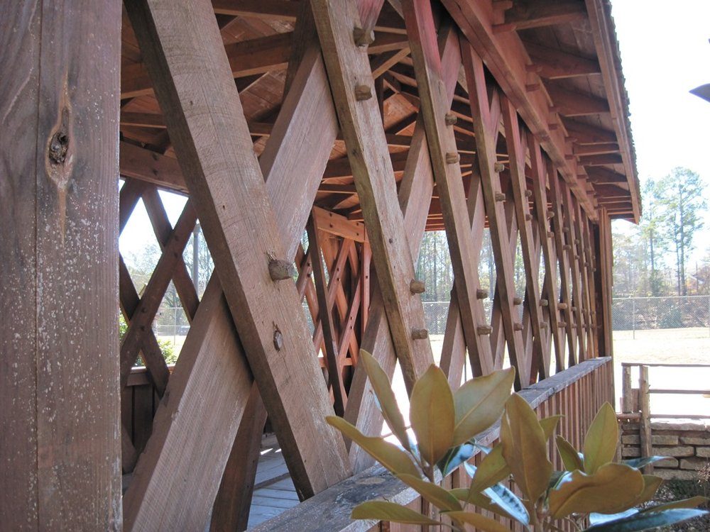 The Salem Shotwell covered bridge in Opelika, AL. A Town Lattice design. Notice the trunnels.