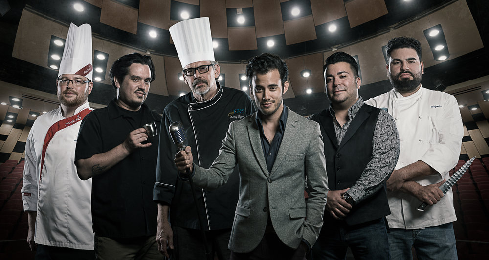 (From Left to Right) Chef Travis Johnson, Chef Octavio Ycaza, Chef Tenney Flynn, Creative Director David Castillo, Chef Phillip Lopez, & Chef Will Avelar.  Photo Credit: Matthew & Becky Noel