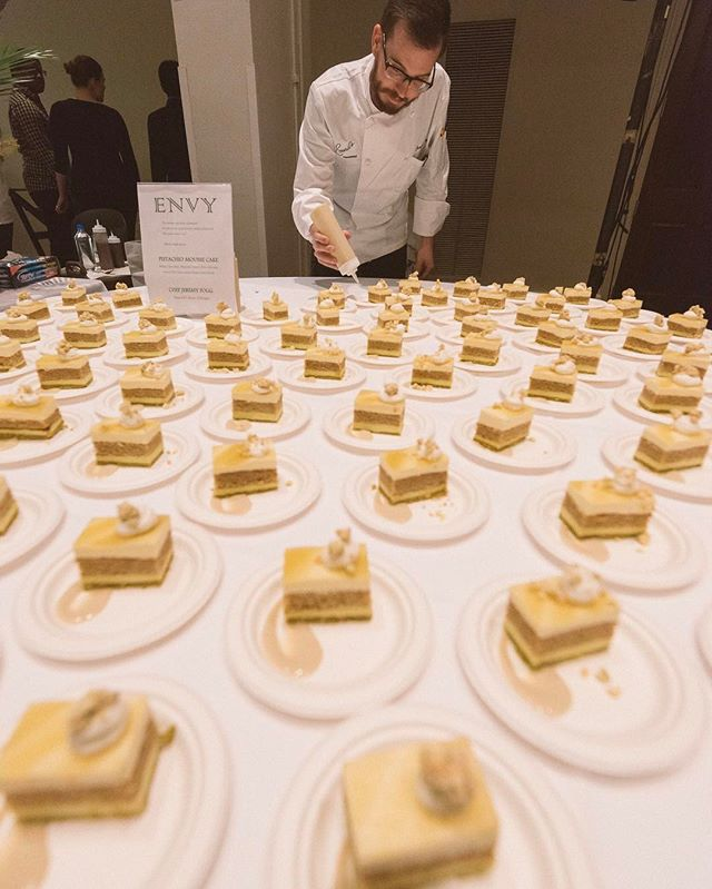 "@jukeboxcastle's second Seven Deadly Sins culinary installment features the sweet side - Chef Jeremy Fogg (@chef_fogg) Pastry Chef of @emerils, who interpreted our sweet ENVY. ""Green with Envy"" ""Pistachio mousse cake: Pistachio crust, Pistachio mousse, Olive oil cake, White chocolate mousse, Topped with Green apple gelée, green tea chai sauce, Pistachio and pepper corn crumble. Pepper corn to bring in the heat that you feel when you're envious of what someone else has."" Chef Fogg helped develop our team of 7 Sinfully Sweet Chefs to interpret the Sins through pastries, a beautiful way to complement the 7 Savory chefs.  His brilliance and talent lead to the win as 2015 Best Pastry Chef of Louisiana.  Follow Chef Jeremy Fogg on facebook and on his instagram at @chef_fogg.  Follow @jukeboxcastle on Facebook, Instagram, and Twitter as we continue the Seven Deadly Sins series!  Photography by @matthew_noel.  #foodporn #jukeboxcaslte #sevendeadlysins #pastry #cake #finedining #nola #noladining #nolaproud #emeril #emerils #sinful #sweet #nolachefs #nolafood #neworleans #pistachio"