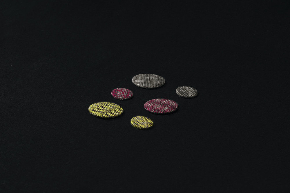 Reflective Tweed Buttons