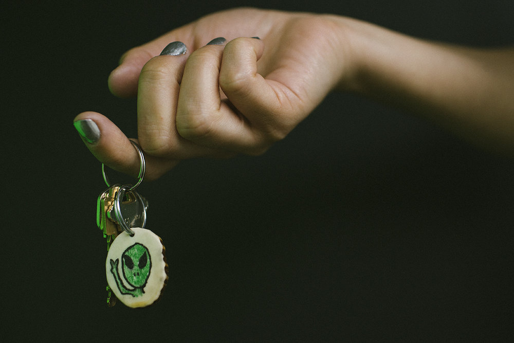 Local artisan Lena Trombly's Alien Antler keychain. 2016. Purchased at the Prince George Farmers' Market. Photo by Denis Gutiérrez-Ogrinc.