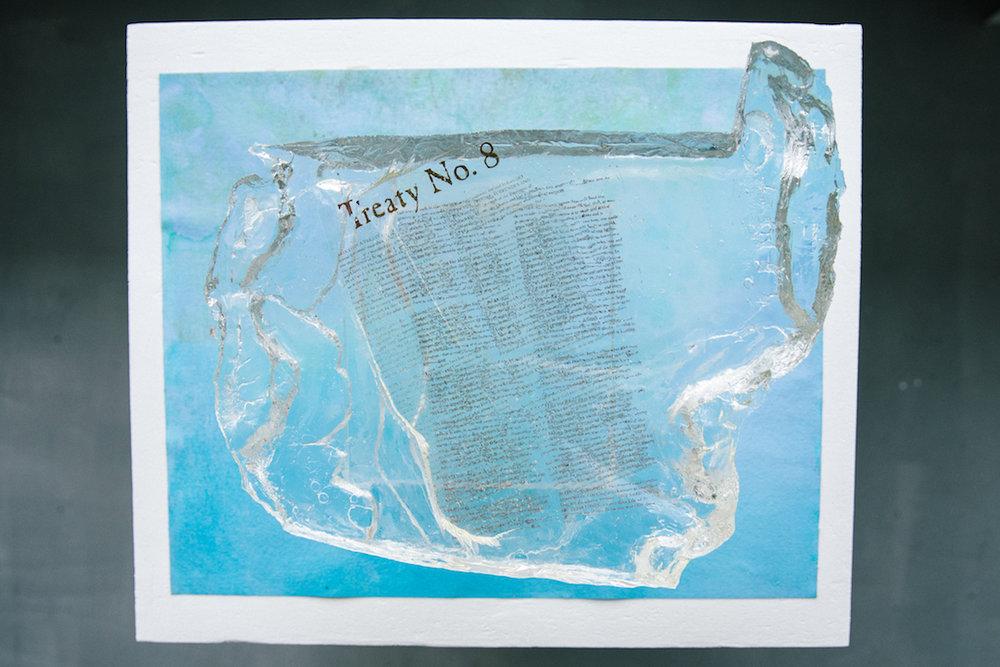 Bill Horne. Reservoir . 2017. Silkscreened mylar, resin, plexiglass and canvas.Photo by Denis Gutiérrez-Ogrinc.