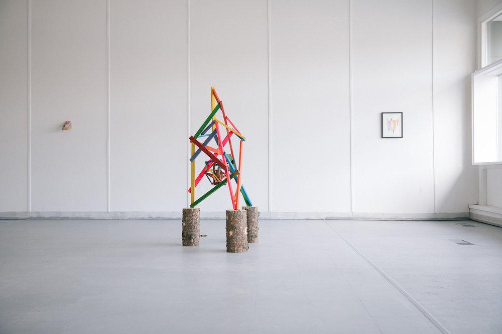 Perry Rath. Field Gaze . 2017. Wood, paint, suet, seed, string, mesh.Photo by Denis Gutiérrez-Ogrinc.