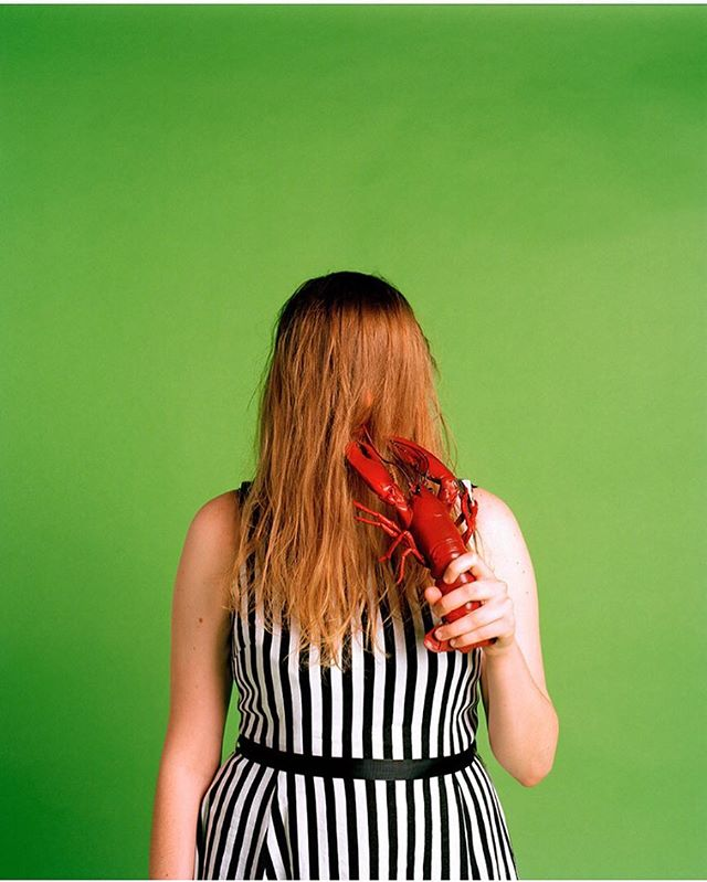 @freyawphotog here for my last takeover pic! Bring on London, see you soon! #advertising #photography #exibition #colour #green #analougephotography #lobster #stripes #portraitphotography