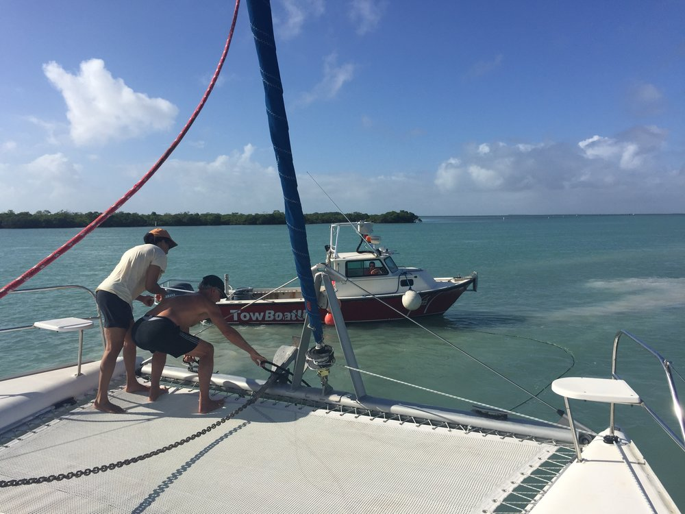 Jen and I grab and secure the tow lines from Brian a second time.