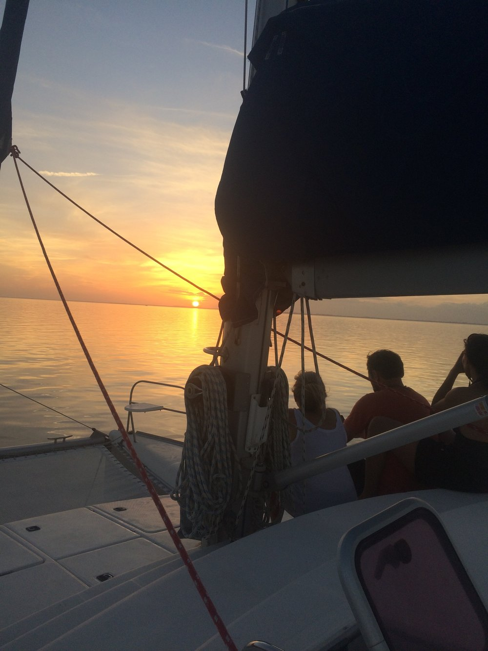 Mystique's  crew views the pastel, placid and perfect sunset on Southern Biscayne Bay - Dec 15, 2016