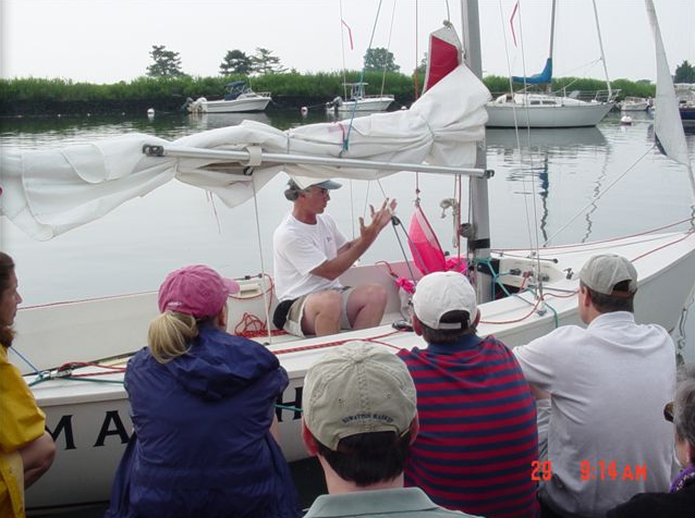 Teaching a spinnaker clinic on the docks of Pequot Yacht Club, Southport, CT  (2005)