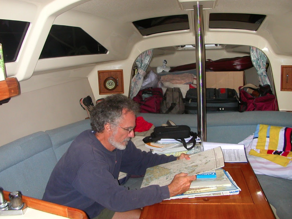 Checking the charts  off the coast of  Maine near Acadia National Park (2007).