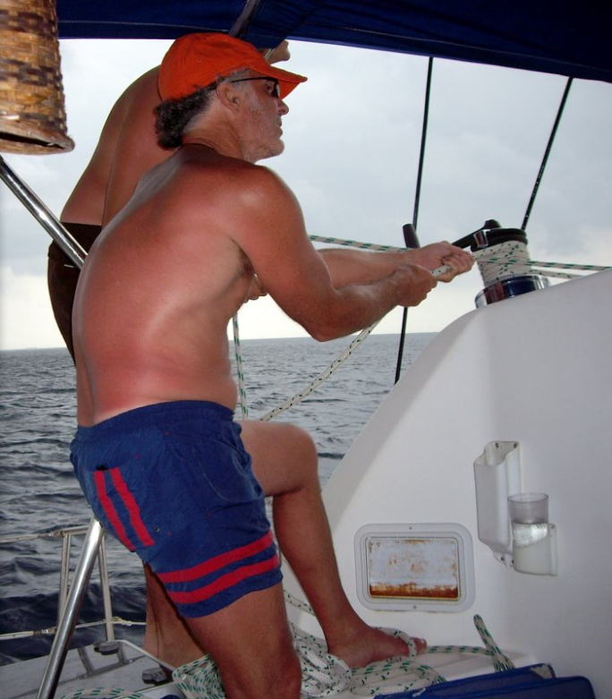 With son, Tyler, sailing off the coast of Belize (2005).