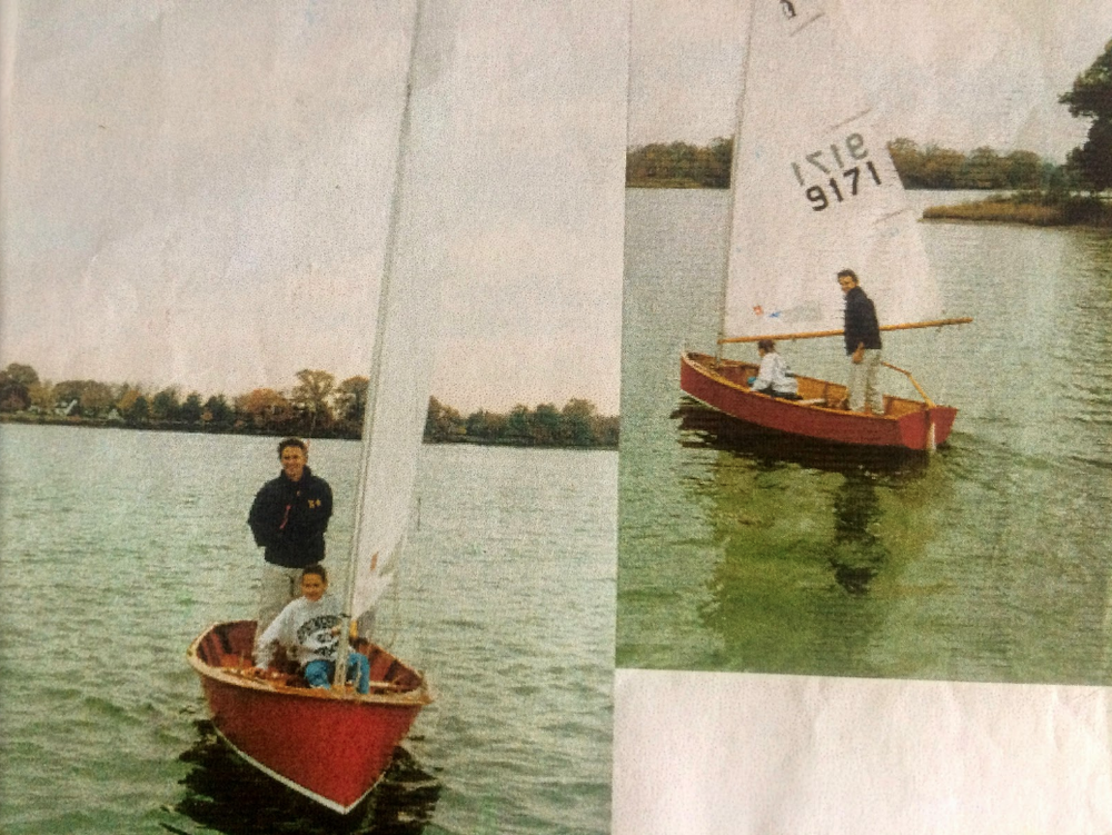 Sailing a Penguin with daughter Kate at UMFR on Miles River, Maryland (1989)