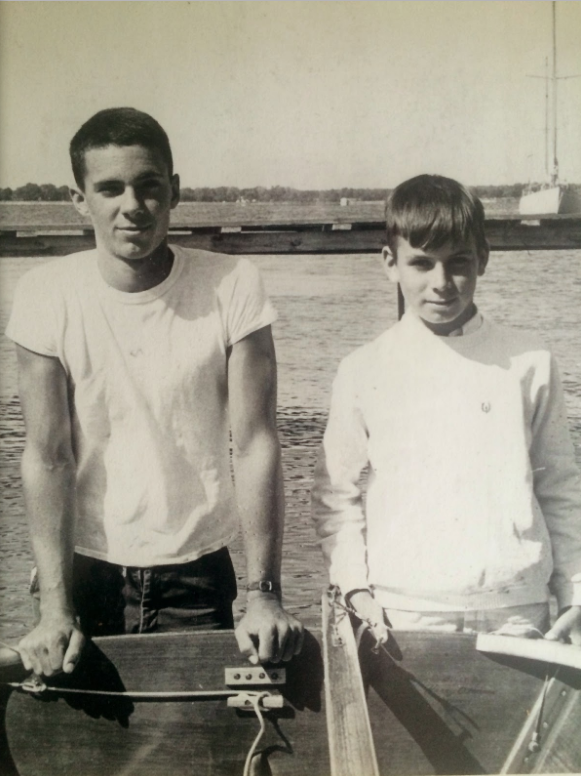 Me and my crew Bobby Messick in 1968 after winning the Oxford Regatta (Oxford, Maryland)