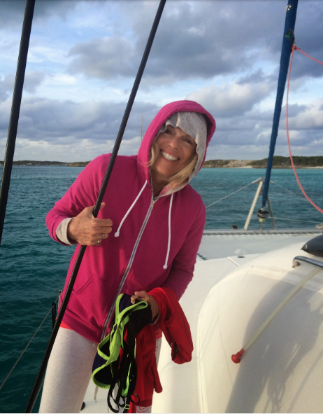 Lynne on Mystique at Roderick Wells, Exuma Marine Park Headquarters