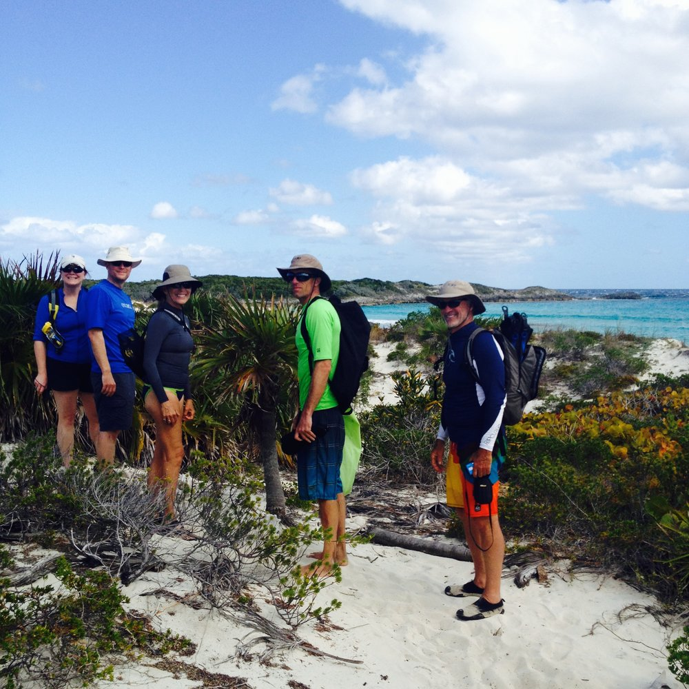 Ellen, Galen, Lynne and Jared hiking to snorkel near Cambridge Cay, Exumas