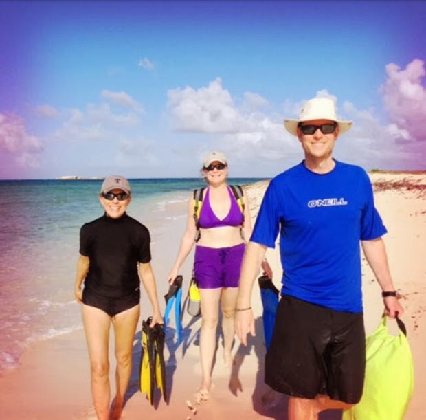 Lynne, Ellen and Galen ashore on  Great Sandy Cay, Turks
