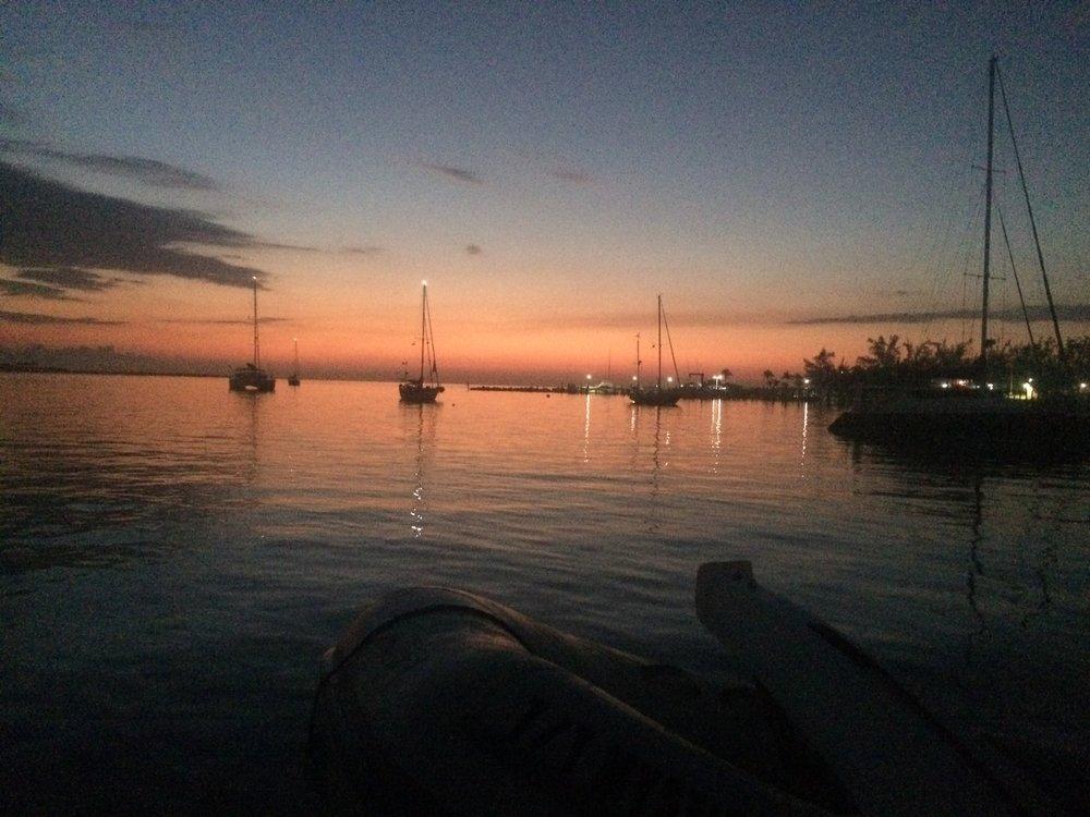 Nassau's east end anchor / shore, sunriseWest lights brighten the calm.