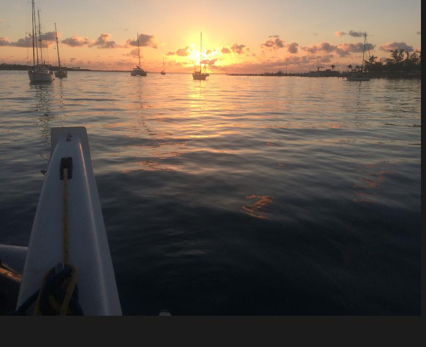 Sunrises beckon  Mystique  and me eastward towards the Exuma Cays.