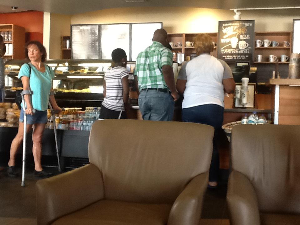 The Starbucks is one popular spot