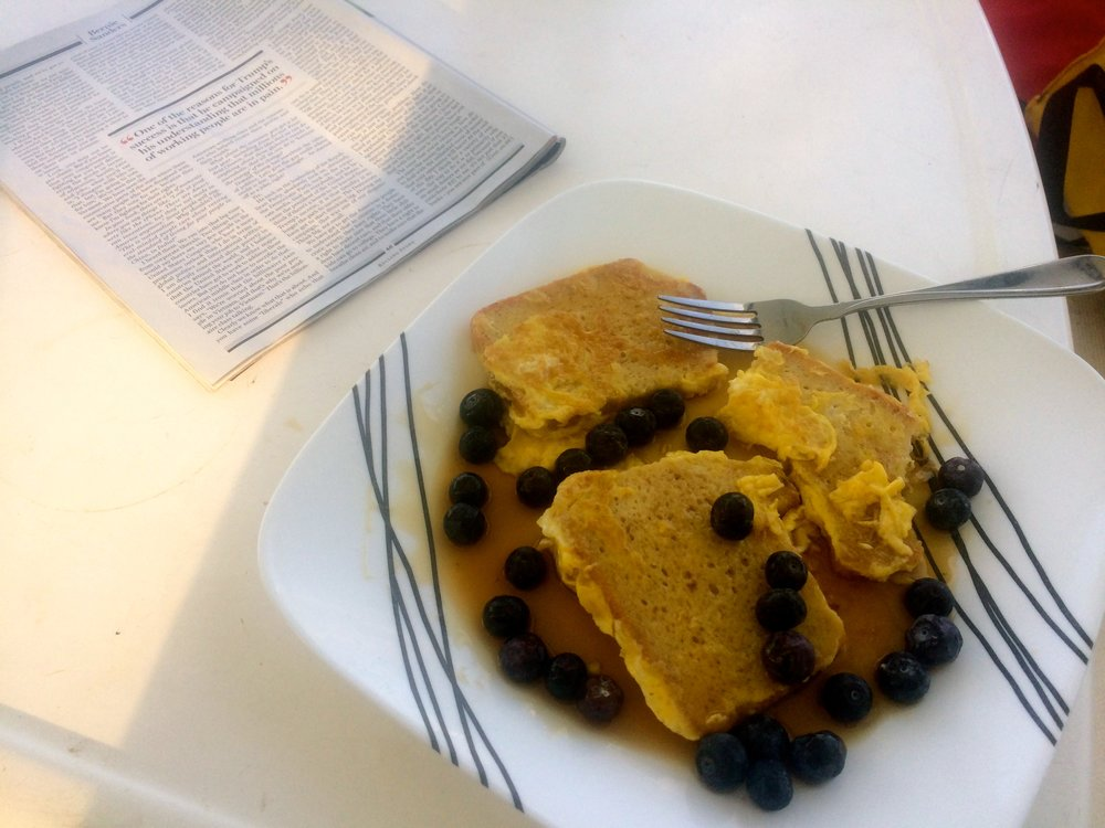 French toast cooked with gluten -free rice bread