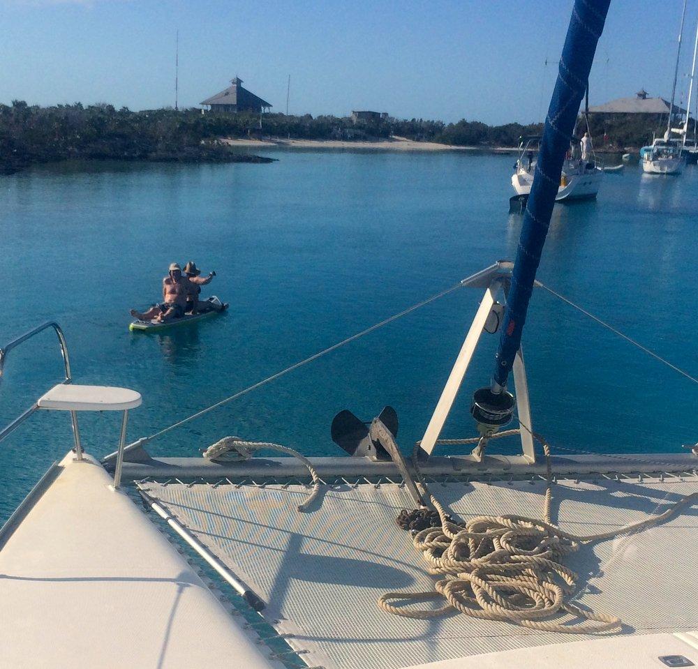 Spare anchor at Warderick Wells still awaits storage in Nassau.
