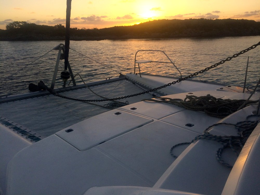 A successful spare retrieval hanging around at the next day's sunrise near Table Top Cay.