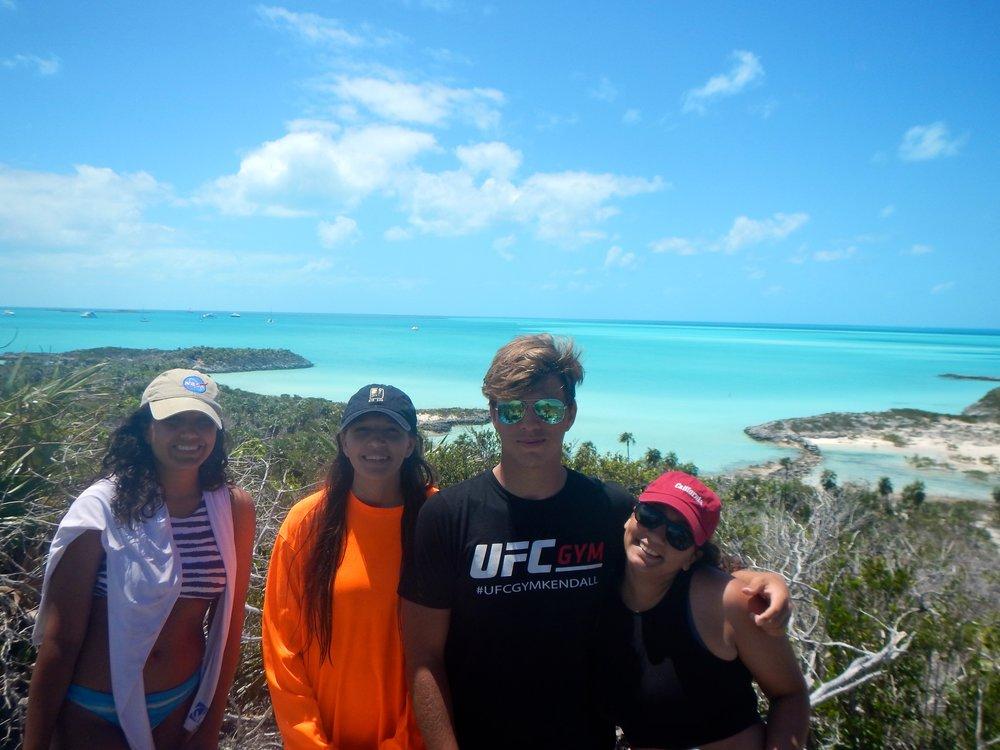 Paola,, Isabella, Cristian and Daniella on a hike on Warderick Wells, Exuma Cays, Bahamas