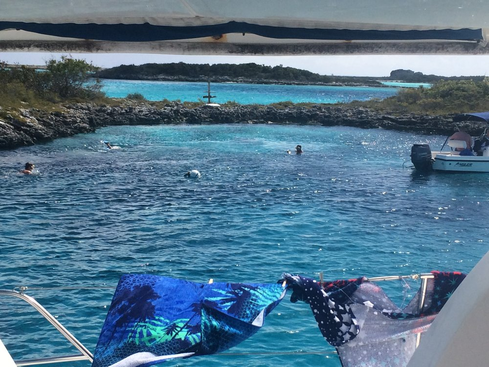 Near Soldier Cay and O'Brien's Cay in the Exumas is a natural marine  aquarium; ideal for fish and family to frolic.