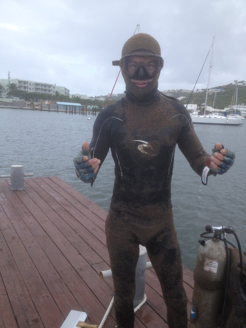Baby shrimp cover Pascal's wetsuit after he cleaned  Mystique's  two hulls in Sint Maarten.