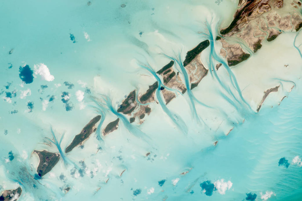 Space satellite photo of the Exumas, Bahamas