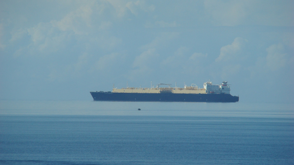 Calm seas help make this ship seem elevated.