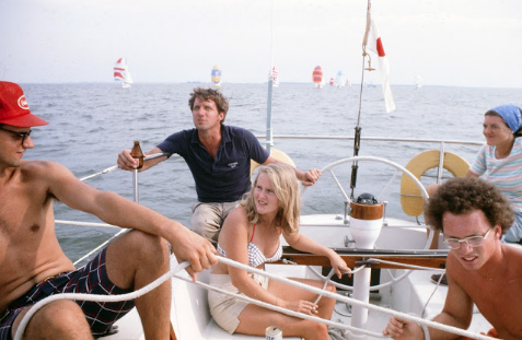 From  Nicole's  starboard to her port: Victor DuPont, Tad Du Pont, Sarah Handy, my youngest brother Franand Eugénie Drayton. Susan Handy and Henry Lane on board, but not in this photo.