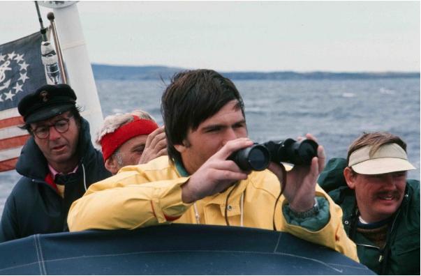 Reindeer's  1976 crew off the coast of Newfoundland. (L-R Newbold, Orlin, Lew, and Gaffney)