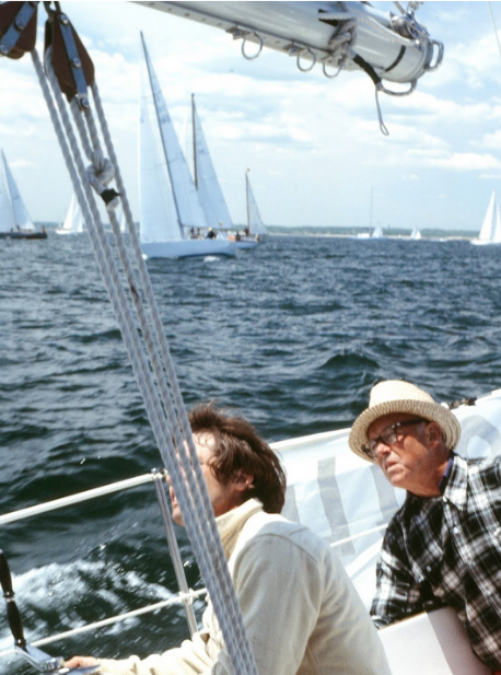 Crewing for the Gibbons-Neffs aboard  Prim  soon after the start of the 1978 Newport-Bemuda Race, I snapped this photo of Hank Gibbons-Neff and his father Sonny Neff.