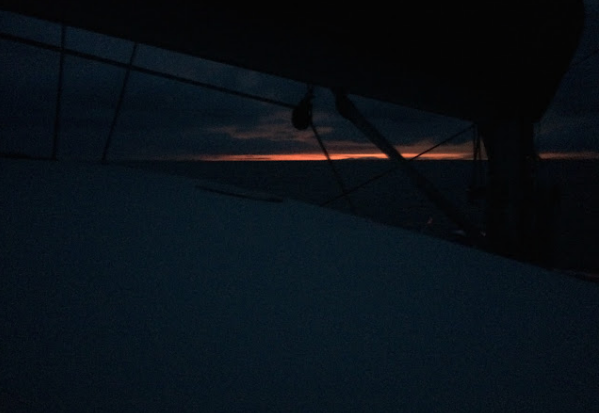 Mystique's  sunrise view about 40 miles northwest of Nassau almost 24 hours after leaving Florida.