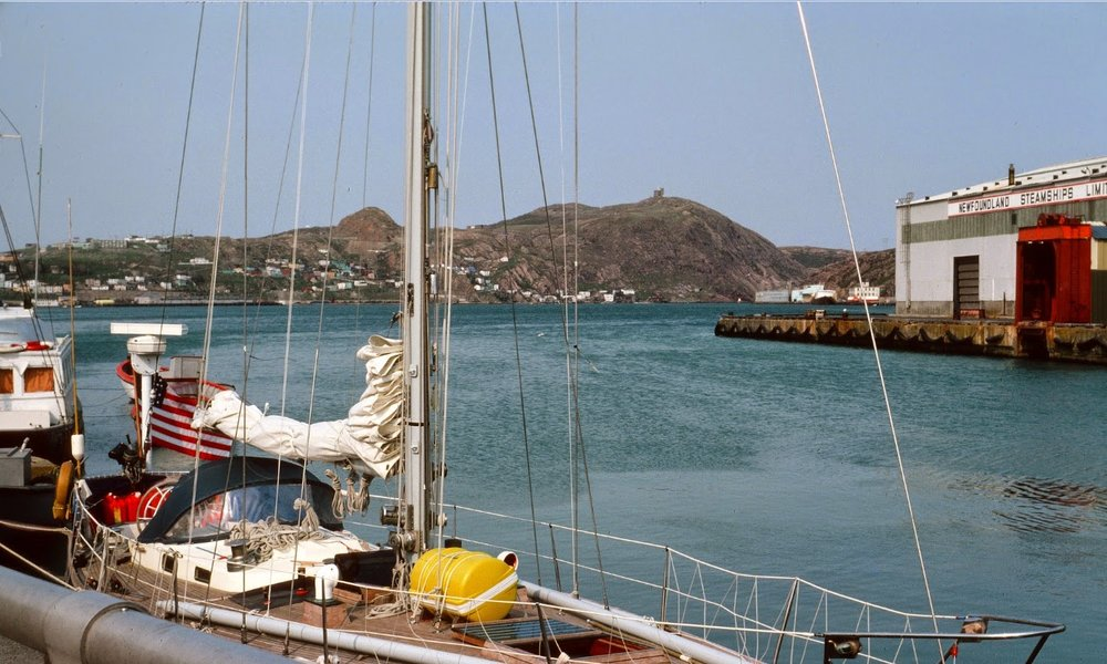 Reindeer at a dock in St. John Harbor, getting stocked up for the 10-day sail to Iceland.